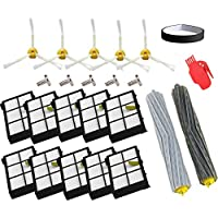 aoteng Replacement For iRobot Roomba 800 Series 860 870 880 Robotic Vacuum Parts-Include: 10 filters, 5 side brushes, 1 set eroForce Extractors