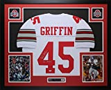 Archie Griffin Autographed White Buckeyes Jersey - Beautifully Matted and Framed - Hand Signed By Archie Griffin and Certified Authentic by Auto PSA COA - Includes Certificate of Authenticity