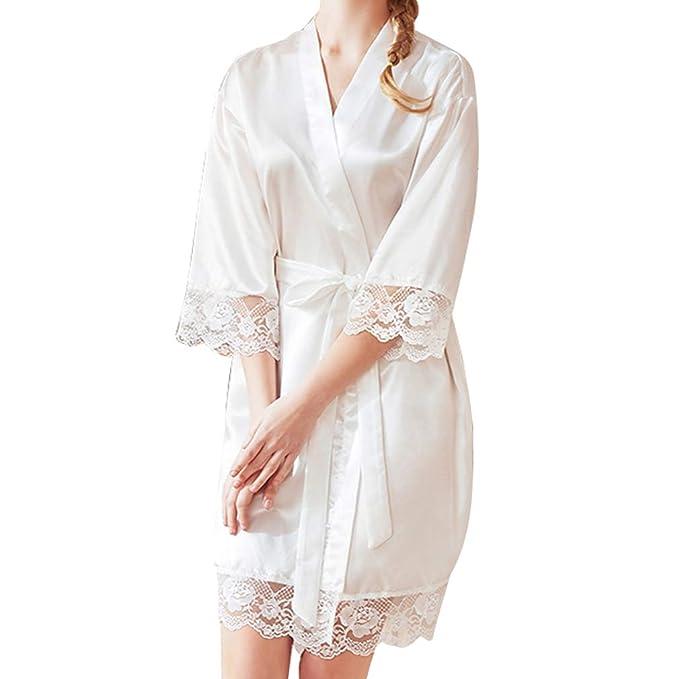 Hibote Mujer Corto Traje de Novia Vestido de Novia Sexy Bata de Encaje Kimono Albornoz Dama de Honor Ropa de Dormir Casual Sleep Dress: Amazon.es: Ropa y ...