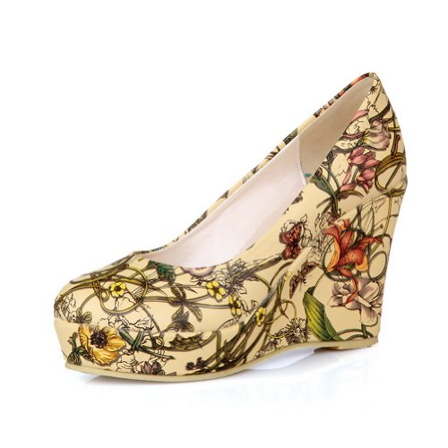 AmoonyFashion Womens Closed Round Toe High Heel Platform Wedges PU Frosted Printing Pumps Yellow DJJhqnS