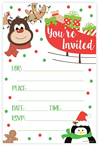 Christmas Invitations - Reindeer Christmas Party Invitations - Fill In Style (20 Count) With Envelopes
