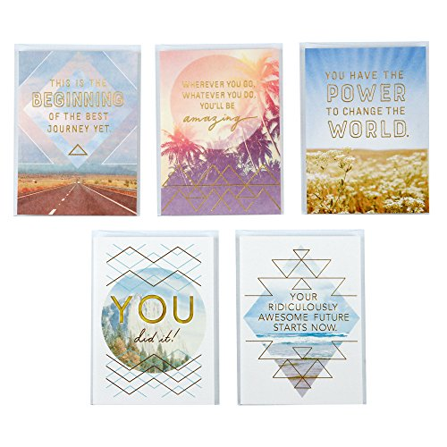 Hallmark Studio Ink Fun Graduation Greeting Card Assortment for Friend or Any Graduate (5 Cards/Designs, 5 - Pack Value Inspirational