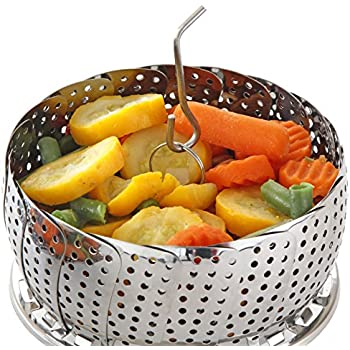 Vegetable Steamer Basket Set, Standard Size - Steamer Inserts for Instant Pot + Safety Tool - 100% Stainless Steel - Pressure Cooker & Instant Pot Accessories, Pot in Pot - Egg Rack