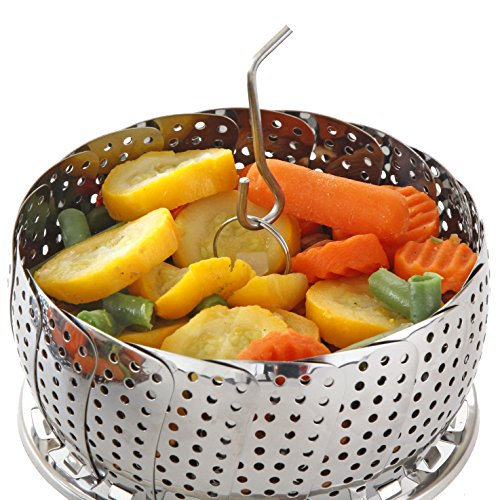 Vegetable Steamer Basket Set, Standard Size - Steamer Inserts for Instant Pot + Safety Tool - 100% Stainless Steel - Pressure Cooker & Instant Pot Accessories, Pot in Pot - Egg Rack (Steamer Basket Insert)