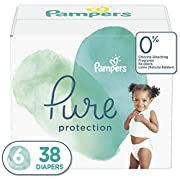 Diapers Size 6 (38 Count) - Pampers Pure Disposable Baby Diapers, Hypoallergenic and Unscented Protection, Super Pack