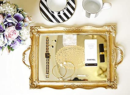 d40f09055bd6 Tray Vintage Table Bar Serving Plate Cool Golden Dining High Tea: Amazon.co. uk: Kitchen & Home
