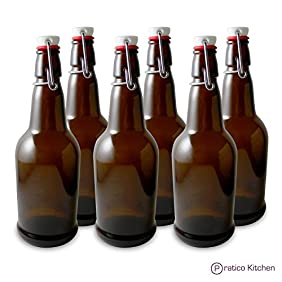 Secure Swing 16 oz Beer Bottles with Ceram-Seal Ceramic Cap for Fermentation & Carbonation of Beer, Soda, & Kombucha - 6 Pack - Amber