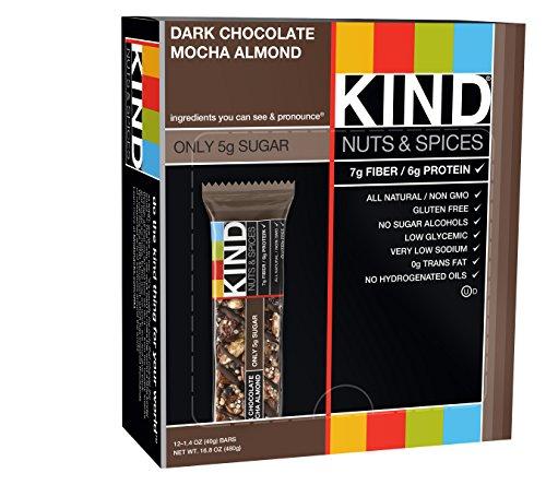 KIND Bars, Dark Chocolate Mocha Almond, 1.4 Oz Bars, 12 Count (Dark Chocolate Bar With Nuts)