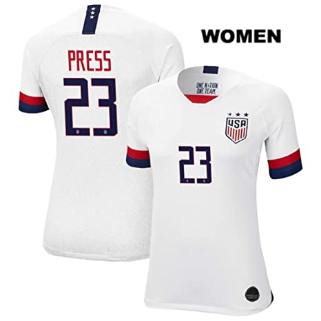hot sale online 91796 a9f25 ZZXYSY Christen Press #23 2019 Women's World Cup USWNT Women's Home Soccer  Jersey/Short Colour White