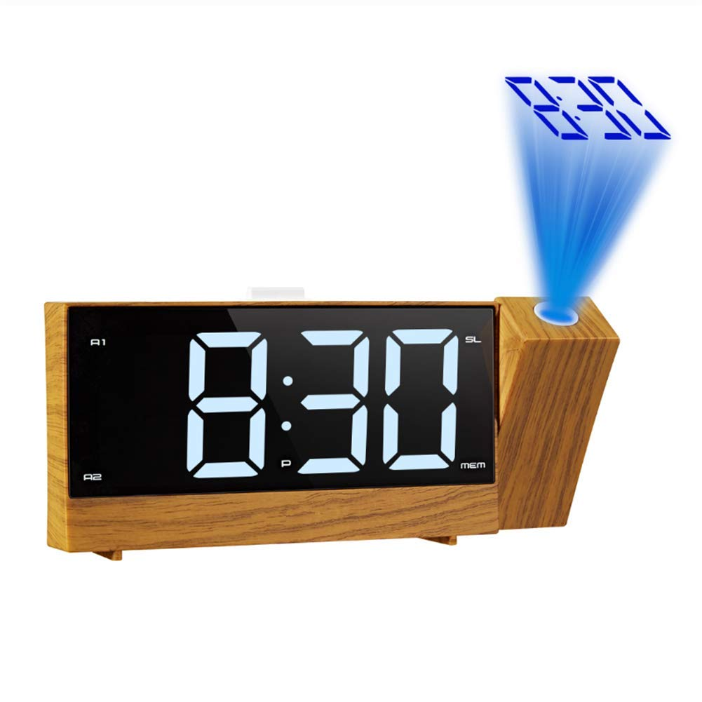 LLVV Projection Radio Alarm Clock LED Digital Desk Table Watch Snooze Function 180° Adjustable Projector FM Radio with Sleep Timer by LLVV