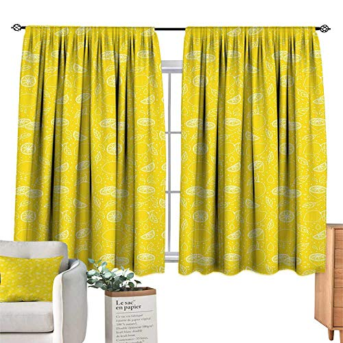 Unprecall Yellow Curtains for Living Room Juicy Lemons Citrus Fresh Slices with Leaves and Dots Health Vitamins Food PatternYellow White Light Curtain W84 x L72
