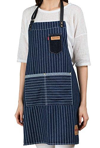 VANTOO Denim Jean Kitchen Cooking Restaurant Art Craft Garden Pinstriped Aprons with Pockets for Men Women Chef Baker Waitress Waiter Craftsmen,100% Cotton Adjustable PU Leather Straps,Navy Blue