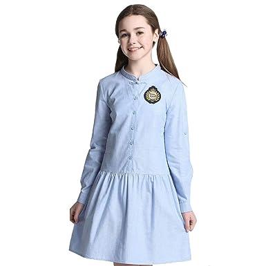 e35440dee23 Amazon.com: E-yes Clothing Big Girls' Long Sleeve Preppy School Uniform  Dresses Classic Chinese Style: Clothing