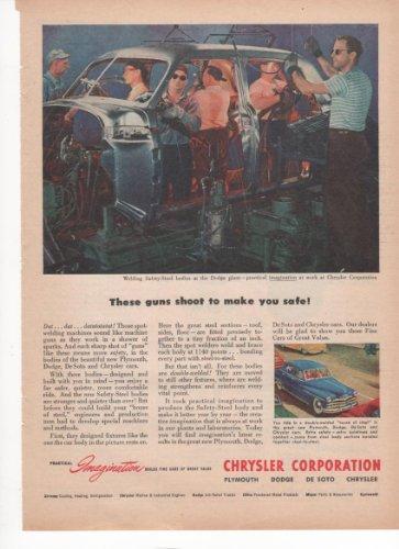 Chrysler These Guns Shoot To Make You Safe Cars 1950 Farm Antique Advertisement