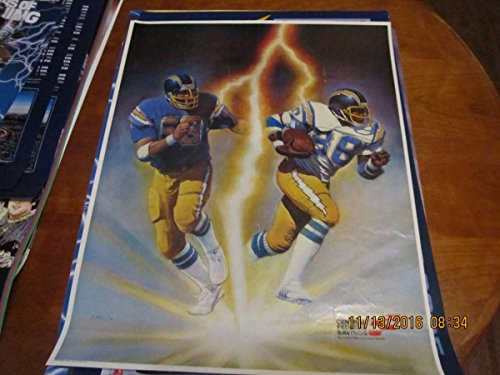 1981  58 Amp  88 San Diego Chargers Poster Central Federal Savings Ex Bx Sd