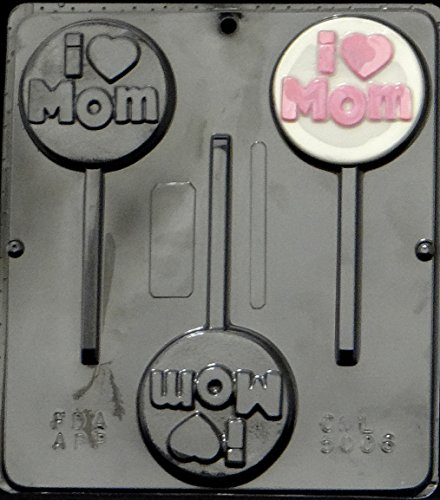 I (Heart) Mom Chocolate Lollipop Lollipops Candy Mold Mothers Day 5006