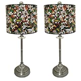 Royal Designs 28'' Crystal and Brushed Nickel Buffet Lamp with Magnolia Stained Glass Design Hard Back Lamp Shade, Set of 2