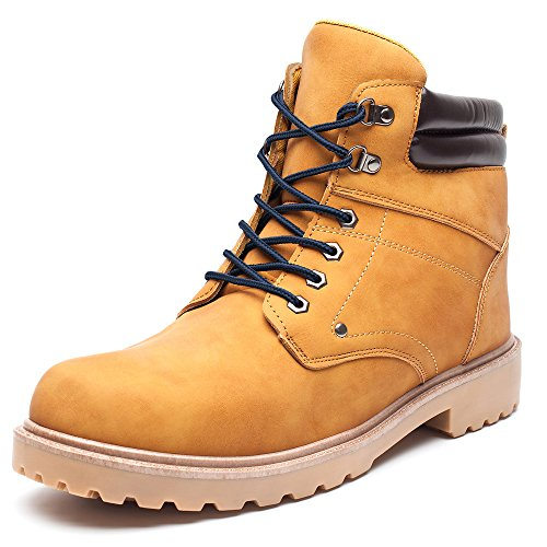 DRKA Men's Water Resistant Work Boots Comfortable Leather Plain Rubber Sole Industrial Construction Shoes for Male(17927-Wheat-46) by DRKA (Image #7)
