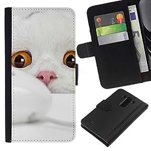 eJoy---La carpeta del tirón la caja de cuero de alta calidad de la PU Caso protector - LG G3 - --Scottish Fold Cat White Kitten Angora