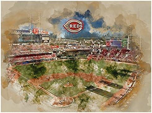 ATLAS Cincinnati Reds Eye 12x16 Poster Print Wall Art D/écor