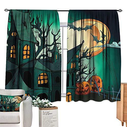 WinfreyDecor Halloween Simple Curtain Halloween Haunted Castle Privacy Protection 63