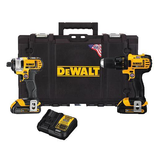 Dewalt DCKTS280C2R 20V MAX Cordless Lithium-Ion Drill Driver & Impact Driver Combo Kit w/ ToughSystem Case (Certified Refurbished) by DEWALT