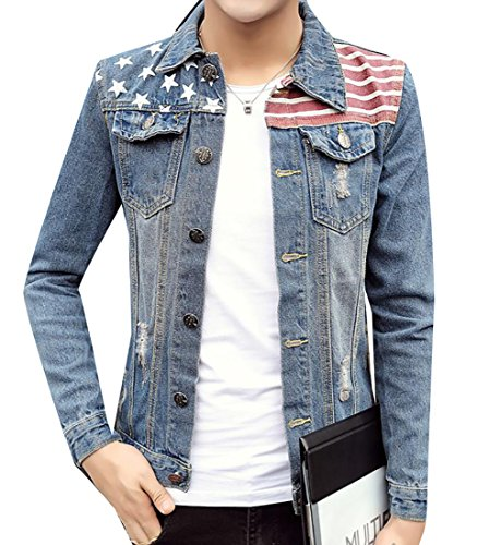 M2MO Men's Casual Fitted American Flag Long Sleeve Denim Jacket Aspic US
