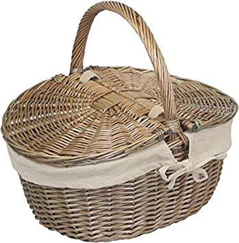 Height 19cm x Width 42cm x Depth 35cm Brown Red Hamper EH001R Antique Wash Finish Wicker Rose Lined Oval Picnic Basket