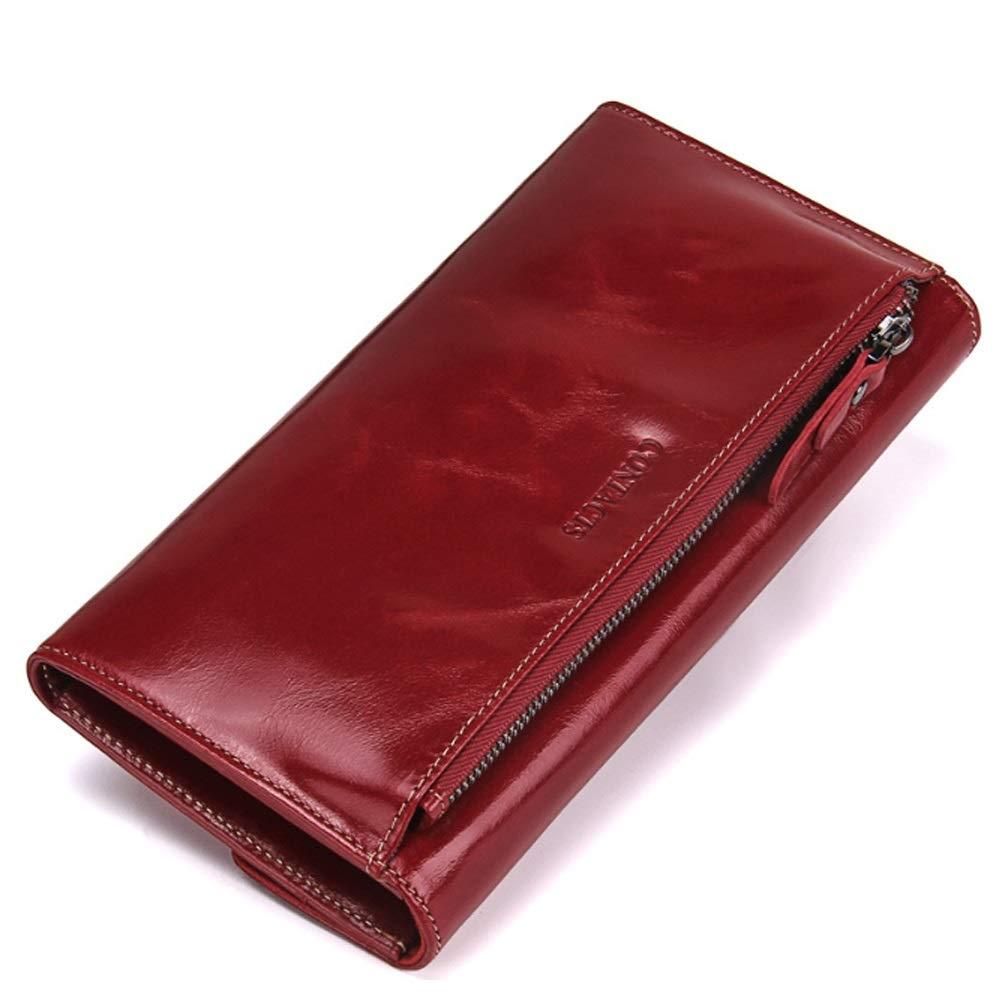Elegdy Womens Wallet Casual Flip Fashion Leather Clutch Bag Multi-Function Wallet Slim Purse Fashion Color : Black, Size : S