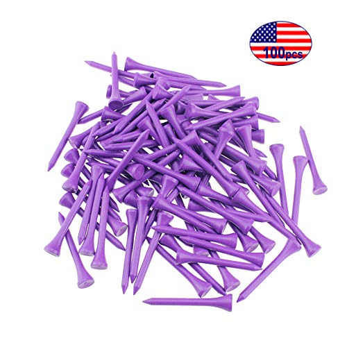 Kofull Golf tees 2 1/8inch Wood Natural Professional 100/Pack Less Friction Golf Wooden Tees Training for Golfer (Purple)