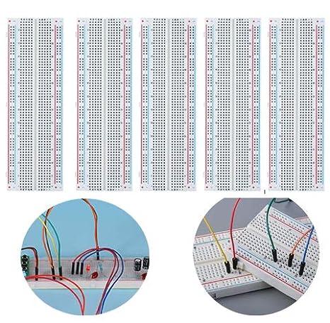 5PCS Basetta Piastra Sperimentale Breadboard 830 punti MB-102 Breadboard per Arduino /& Raspberry pi