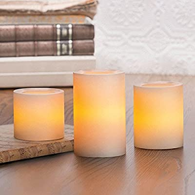 Inglow Flameless Candles Round Pillars with Timer, Cream, Vanilla Scented, Set of 3