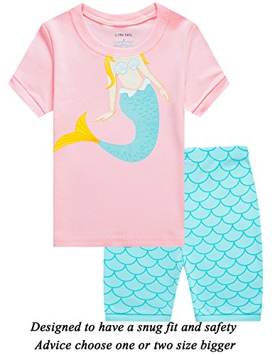 Little Girls Short Pajamas Mermaid 100% Cotton Toddler Pjs Summer Clothes Shirts 10t by Little bety