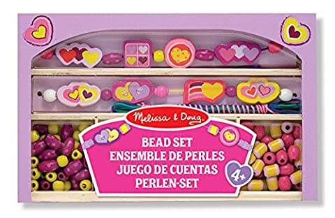 Melissa & Doug Happy Hearts Wooden Bead Set - Bambini Perline