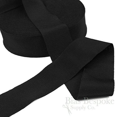 (3 Yards of Vera 2'' Cotton & Viscose Petersham Grosgrain Ribbon, Black, Made in Italy)