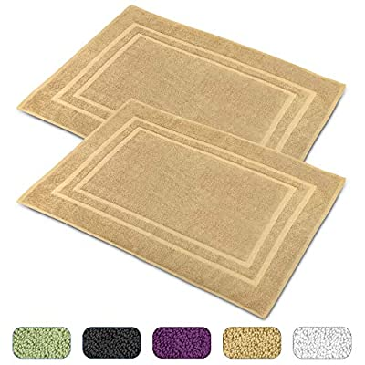 Talvania Cotton Banded Bath Mats, 100% Ring Spun Genuine Cotton, 23 x 32 Inch, Highly Absorbent, Maximum Softness, Easy Care & Machine Washable Shower Bathroom Rugs Floor Towel 2 Pack (Beige) - [Premium Quality Cotton] Made from all natural 100% Ring-spun cotton and free from all synthetic elements and harmful chemicals. This bath mat offers a soft and comfort cushioning under your feet. The luxurious quality of our product is the perfect essential to any home, you can even send this as a nice gift to your loved ones. [Hemmed Edges] the bath mats towel provided by Talvania comes with double-stitched hemmed edges for best strength along with a classic border design for a nice style rug look. It comes in a set of 2 so you will never be without a bath mat in need and offers you to match the other half bathroom etc. it measures 22 by 32 inches. [Soft and Highly Absorbent] This towel-like cotton bath mat with non-rubber back guarantees outstanding softness underfoot, high water absorbency, and fast drying. The perfect for bathrooms Great for the shower, our banded bath mat will protect bare feet from cold tiles and keep your feet warm and dry while feeling of a spa-like luxury. - bathroom-linens, bathroom, bath-mats - 51wPgyfHmFL. SS400  -