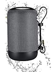 TERSELY Portable Bluetooth Wireless Music Speaker, IPX5 Shockproof Waterproof with 12 Hour Playtime, Built-in MIC, TWS for iPhone iPad Samsung Android Travel Beach Shower [U Disk] - Grey