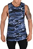 YoungLA Long Tank Tops for Men Muscle Shirt Bodybuilding Gym Athletic Training Sports Everyday Wear 306 Camo Blue Small