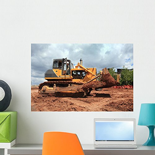 Wallmonkeys The Heavy Building Bulldozer of Yellow Color Wall Decal Peel and Stick Graphic WM39424 (24 in W x 16 in H)