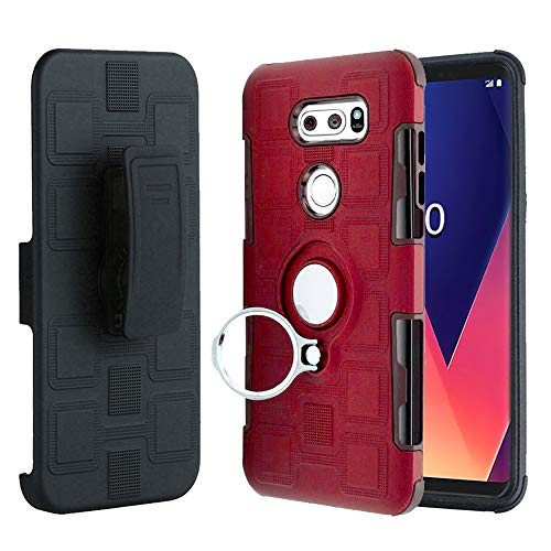 LG V30, V30 Case, Slim Drop Protection Cover, Improved Ring Grip Holder Stand, Holster Belt Clip, Metallic Circle Protective Phone Case - Red