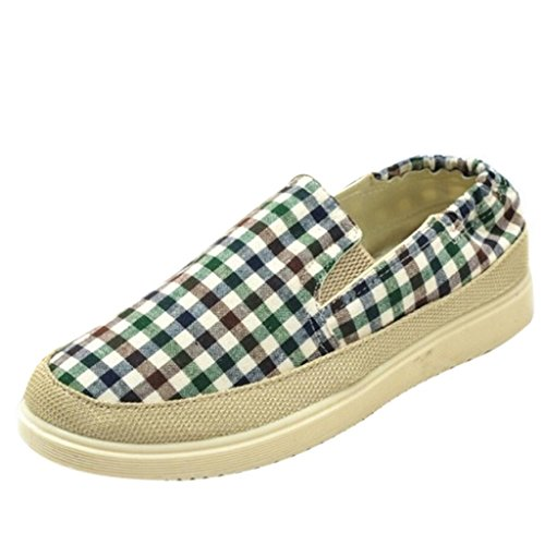 Hee Grand Men's Casual Low-Top Plaid Canvas Sports Pump Shoes US 8.5 Green