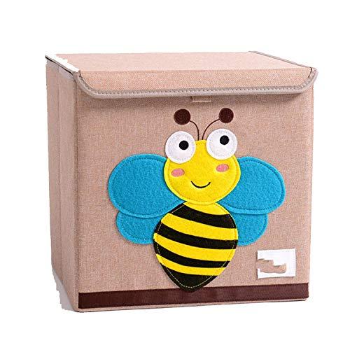 Collocation-Online Cartoon Storage Box Toys Organizer Folding Linen Sundry Shoes Clothing Storage Box,bee -