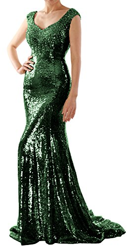 MACloth Women Mermaid Sequin Long Prom Dress Formal Evening Wedding Party Gown (US12, Dark Green)