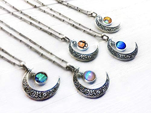 - Real butterfly wing necklace Crescent moon necklaces for women Sterling silver or 14k gold filled chain option Planet jewelry