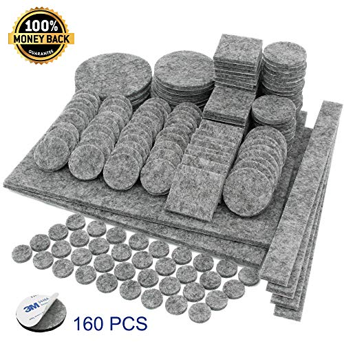 Antiscratch Furniture Pads, Felt Pads for Furniture on Hardwood Floors, 160 Pcs ()
