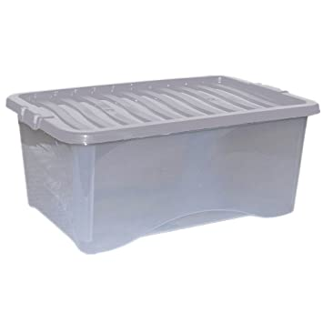 Plastic Storage Boxes (with Clear Lids)   45ltr   Set Of 5 By CrazyGadget