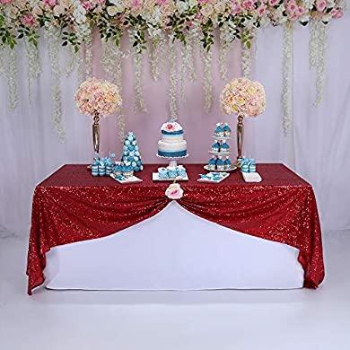 TRLYC Turquoise and Silver Reversible Sequin Table Cloth-60x102-Inch BalsaCircle