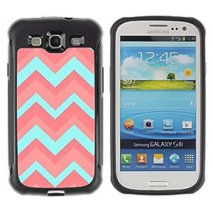 WAWU Funda Carcasa Bumper con Absorci??e Impactos y Anti-Ara??s Espalda Slim Rugged Armor -- chevron peach teal pink pattern -- Samsung Galaxy S3 I9300
