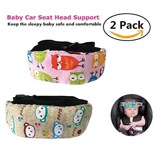 Car Seat Head Support Band Safety Pram Nap Holder with Adjustable Playpens Sleepy Positioner for Infants Baby Toddler Kids 2 Pack - Kid No Back Booster Seat