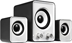 White Desktop Speakers. 2.1 PC Speakers with Subwoofer. Computer Speakers for Desktop. USB Powered with AUX. Clear and Loud.